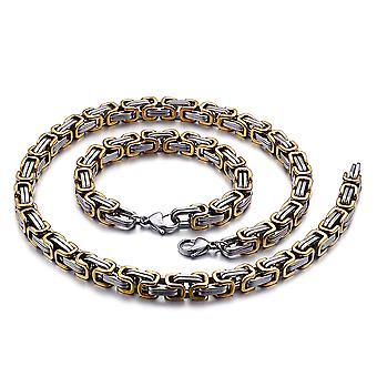 Bracelet de chaîne royale 5mm collier homme pour hommes, 65cm argent / or chaînes en acier inoxydable