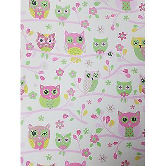 Eule Wallpaper Rosa grüne Creme Baum niedliches Design Feature Schlafzimmer Kind Debona