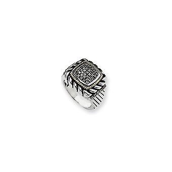 925 sterling zilveren antieke afwerking met 14k geel Black Diamond Ring-Ring grootte: 7 tot en met 8