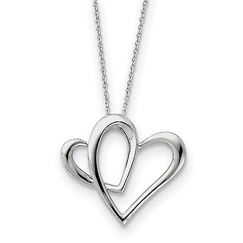925 Sterling Silver Polished Gift Boxed Spring Ring Rhodium plated Love Heart Necklace 18 Inch Jewelry Gifts for Women