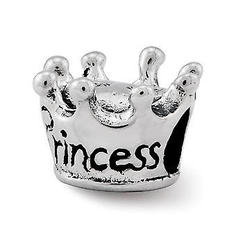 925 Sterling Silber poliert Antike Finish Reflexionen Kinder Prinzessin Krone Perle Charme