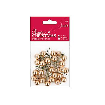 24 Gold Holly Berries for Christmas Crafts