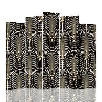 Dekorative Raumteiler, 5 Paneele, doppelseitig, 360 ° Drehbare Leinwand, geometrische Formen