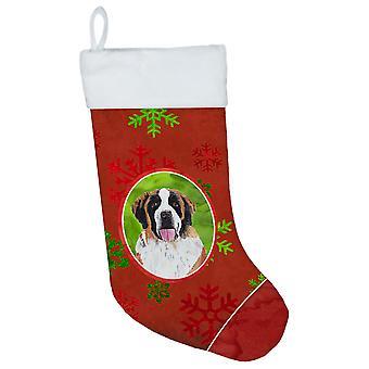 Saint Bernard rød og grøn snefnug ferie Christmas strømpe