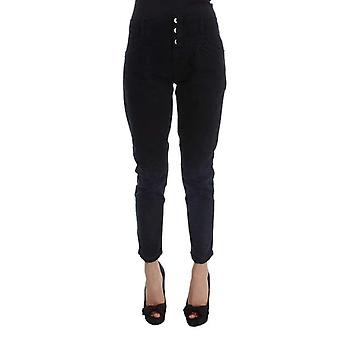 Black Cotton Slim Fit Cropped Jeans -- SIG3391365