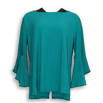 Women with Control Women's Petite Top L Flounce Sleeve Top Green A301384