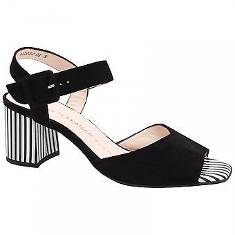 Peter Kaiser Pearl Black Suede Block Heel Sandal