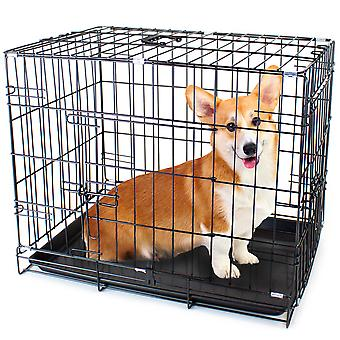 "24"" SMALL Dual-Door Folding Pet Crate with Wyjmowany Liner"