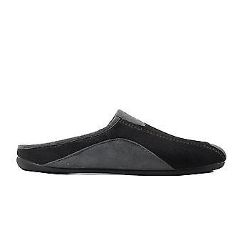 Cotswold Westwell zwarte mens slip op mule slippers