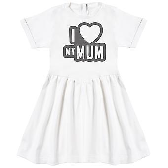 أنا أحب أمي الأسود الخطوط العريضة فستان الطفل