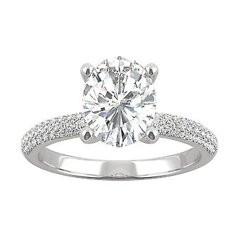 14K White Gold Moissanite by Charles & Colvard 9x7mm Oval Engagement Ring, 2.45cttw DEW