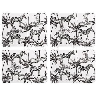 Poruszaj się po Madagaskarze Zestaw 4 Placemats, Zebra Palm