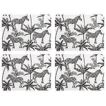 Navigoi Madagaskarin joukko 4 placemats, Zebra Palm