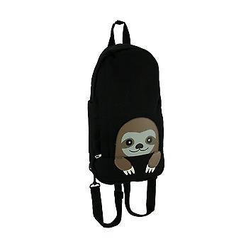 Sleepyville Critters Black Canvas Peeking Sloth Backpack or Sling Bag Small