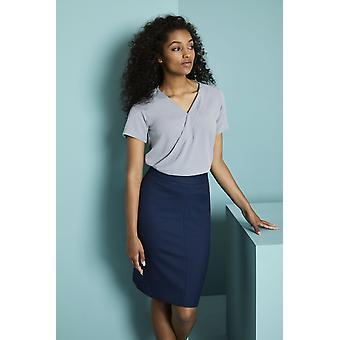 SIMON JERSEY Women's Wrap Front Blouse, Pale Grey