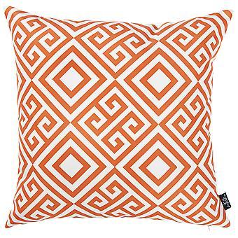 """18 """"x 18"""" oranje tropische Griekse gedrukte decoratieve gooien kussensloop"""