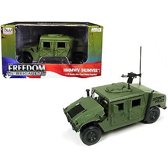 HMMWV (Humvee) Security Police Olive Green Drab 1/18 Diecast Model Car by Autoworld