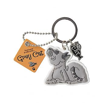 Wags & Whiskers Keyring - Grey Cat