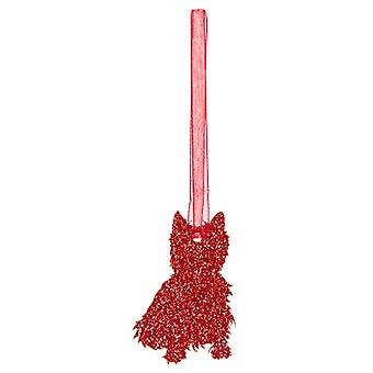 Red West Highland Terrier Style 2 Glitter  Christmas Decoration
