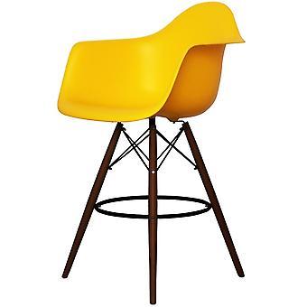 Charles Eames Style Bright Yellow Plastic Bar Stool With Arms - Walnut Legs