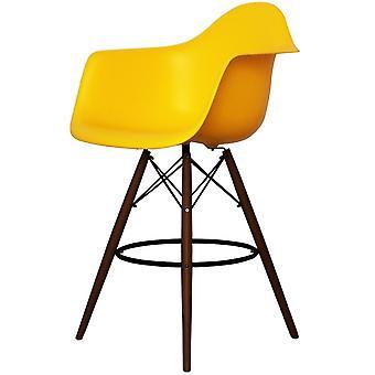Charles Eames Stil hell gelb Kunststoff Bar Hocker mit Armen - Walnuss Beine