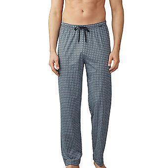 Mey Men 19060-188 Men's Lounge Blue Motif Cotton Pyjama Pant