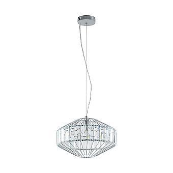 Eglo - Pedrola Single luz de teto pendente em cromo polido e acabamento de cristal EG96987