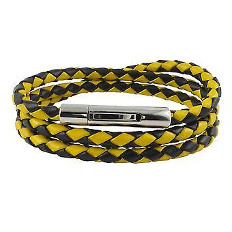 Cadena de cuero cordón de cuero 6 mm hombres collar negro / amarillo 17-100 cm de largo con palanca de impresión cierre plateado trenzado