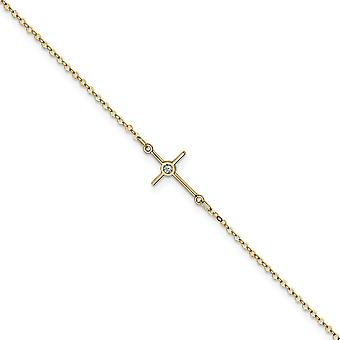 12.25mm 14k Polished CZ Cubic Zirconia Simulated Diamond Religious Faith Cross Anklet 10 Inch Jewelry Gifts for Women