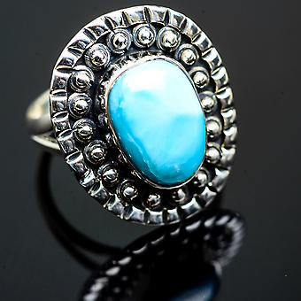 Larimar Ring Storlek 7,25 (925 Sterling Silver) - Handgjorda Boho Vintage smycken RING995897