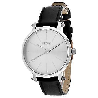 Nixon Mujeres's Kensington reloj de plata de cuero - A108-3149