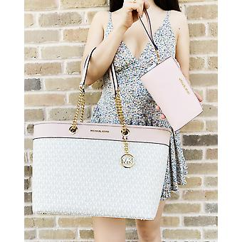 Michael kors shania tote vanille mk pink tote + double zip wristlet wallet