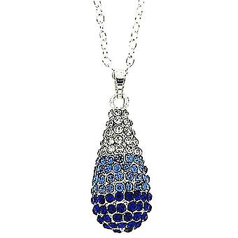 TOC Silvertone Blue Tones Glass Set Tear Drop Pendant Necklace 18