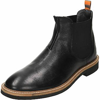 Frank Wright Hazelburn Black Leather Chelsea Pull On Ankle Boots