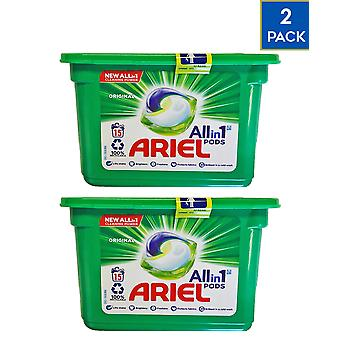 2 x Ariel Original All in One Laundry Pods 15 Washes Stain Remover Clean Clothes