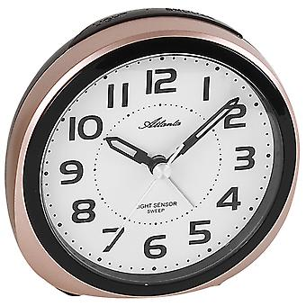 Atlanta 1954/18 alarm clock quartz analog copper colors quietly without ticking with light