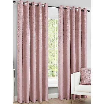 Belle Maison Lined Eyelet Curtains, Sahara Range, 66x90 Blush