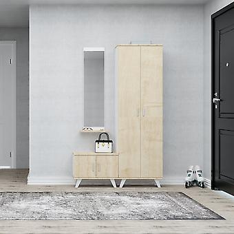 Mobiler Eingang Seylan Color Oak, Weiß in Chip, Kunststoff, Metall 30x12x120 cm, 60x35x194 cm, 60x35x46 cm