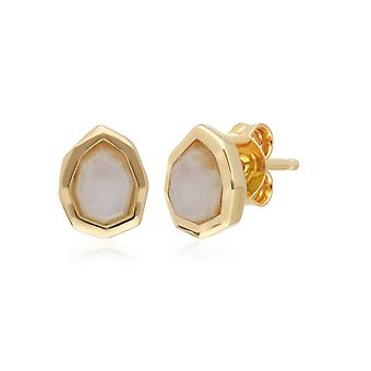 Irregular B Gem Rainbow Moonstone Stud Earrings in Gold Plated Sterling Silver 271E021103925