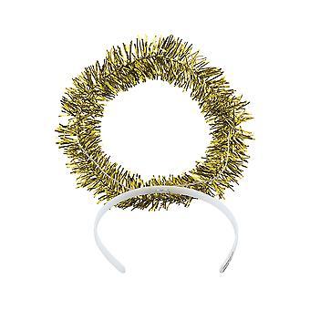 12 Gold Tinsel Engel Halo Kunststoff Stirnbänder
