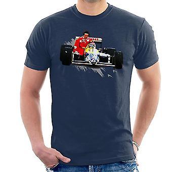 Motorsport Bilder Nelson Piquet ger Alain Prost A Lift tyska GP Men&apos, s T-Shirt
