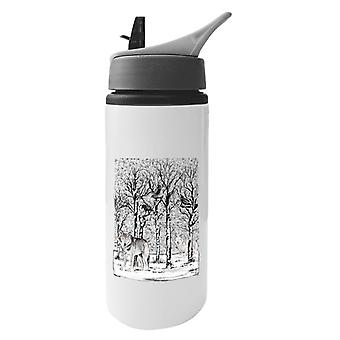 Wolves In The Winter Forest Aluminium Water Bottle With Straw
