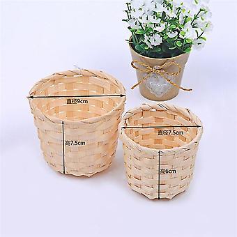 1Pcs Handwoven Mini Plastic Storage Basket - Flower Fruit Rattan Cosmetics Tea Picnic  Storage Basket