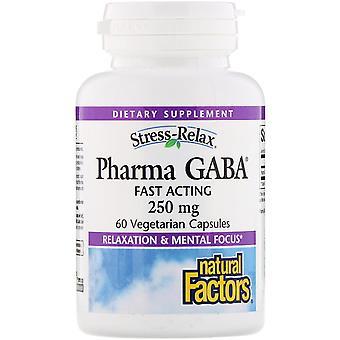 Natural Factors, Stress-Relax, Pharma GABA, 250 mg, 60 Vegetarian Capsules