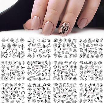 12st Blanda Svart Blomma Nail Art Klistermärke- Dekaler Ihåliga blommig fjäril, vatten