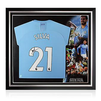 David Silva Signed Manchester City 2019-20 Football Shirt. Premium Frame