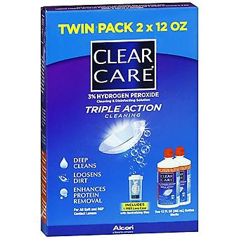 Clear care triple action cleaning & disinfecting solution, 24 oz *