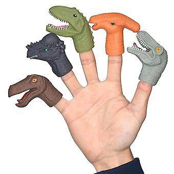 5pcs Mini Cartoon Realistic Dragon Dinosaur Finger Puppets Set Role Playing,