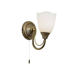 Endon Haughton - 1 Light Wall Light Antique Brass with Opal Glass Shade, E14