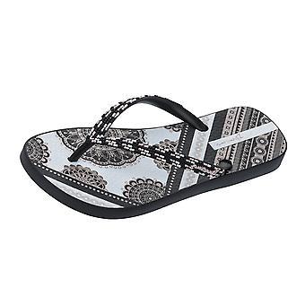 Ipanema indie Womens Beach flip flops/sandaler-svart